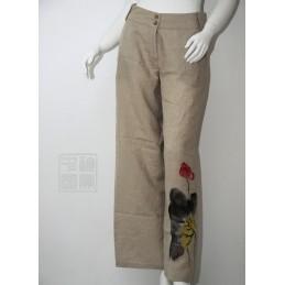 Pantalon lin imprimé chinois